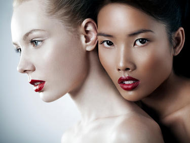 Close up of women wearing red lipstick