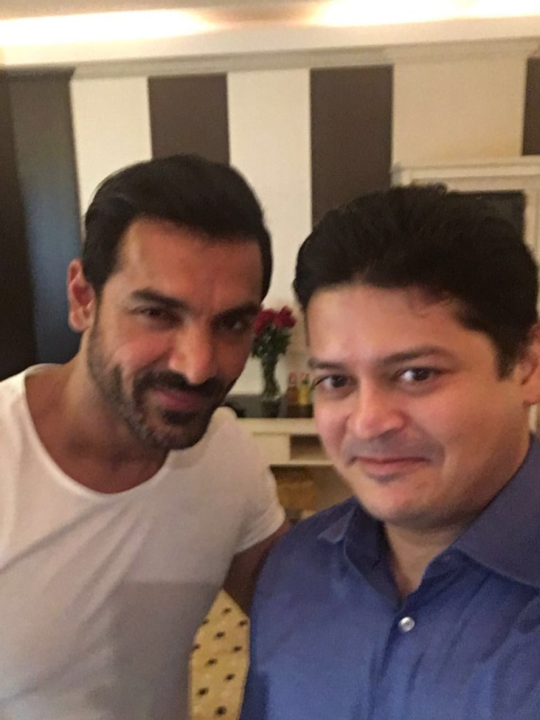 Our Image Director Vimal Mammen with Bollywood actor John Abraham for the launch of the new Homecenter store in Karama